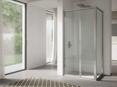 Cabina de ducha de esquina de vidrio con puertas plegables 4.0 - QTSF+QTFI