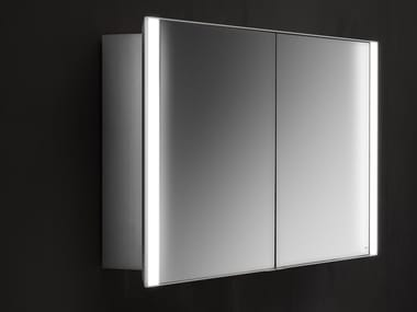 Mirror with cabinet with integrated lighting QUATTRO.ZERO | Mirror with cabinet