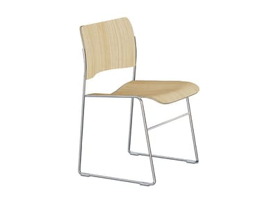 Sled base stackable wood veneer chair 40/4 xtra