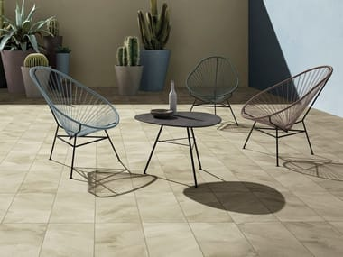 Indoor/outdoor porcelain stoneware wall/floor tiles with concrete effect with resin effect 400 F HEAT