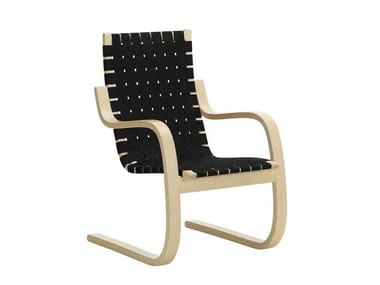 Cantilever wooden armchair with armrests 406 | Armchair