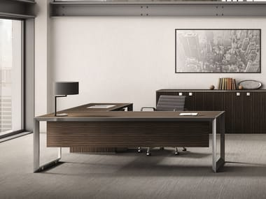 L-shaped steel and wood office desk 45/90 | Steel and wood office desk
