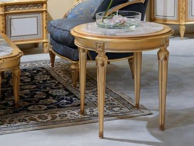 Tavolino rotondo in legno con piano in marmo 4970   Tavolino rotondo