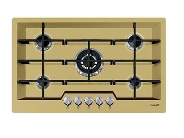 Gas flush-mount stainless steel hob 5F KE FT PVD+GOLD