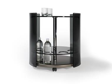 Tavolino rotondo in vetro con ruote 6000 | Tavolino