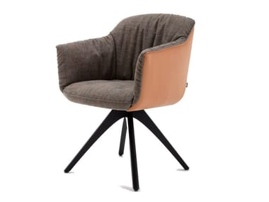 Trestle-based chair with armrests ROLF BENZ 641 | Chair with armrests
