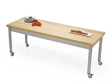 Rectangular wooden table with casters 696111 | Table with casters