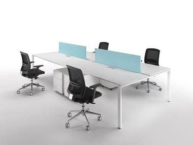 Sectional melamine-faced chipboard workstation desk with cable management 6X3   Multiple office workstation