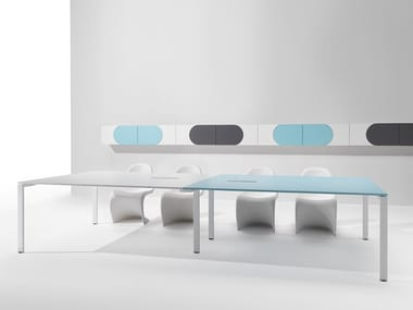 Rectangular melamine-faced chipboard meeting table with cable management 6X3 | Rectangular meeting table