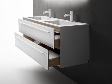 Double wall-mounted vanity unit with drawers 7.0 | Double vanity unit