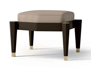 Upholstered nabuk stool with wooden structure 7588 | Stool