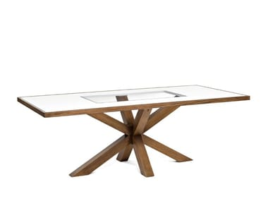 Rectangular wood and glass table 7717 | Table