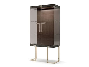 Wood and glass display cabinet with integrated lighting 7901 | Display cabinet