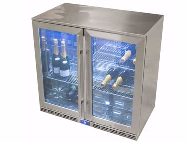 Double door stainless steel refrigerator with glass door CUN 900320 | Refrigerator