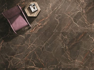 Porcelain stoneware wall/floor tiles with marble effect 9CENTO OMBRA MOCA