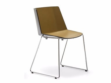 Sled base stackable polypropylene chair AÏKU | Sled base chair