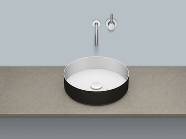 Sit-on basin from glazed steel AB.KE400