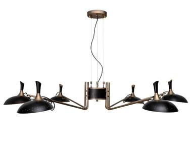 Lampadario in alluminio e ottone ABBEY | Lampadario