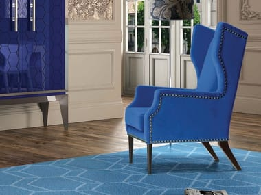 Wing fabric armchair with armrests ABSOLUTE