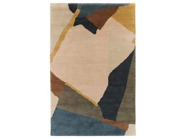 Handmade rectangular wool rug ABSTRACT