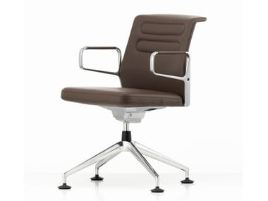 Swivel leather chair with armrests AC 5 MEET | Leather chair