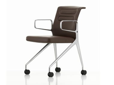 Leather chair with castors AC 5 SWIFT | Leather chair