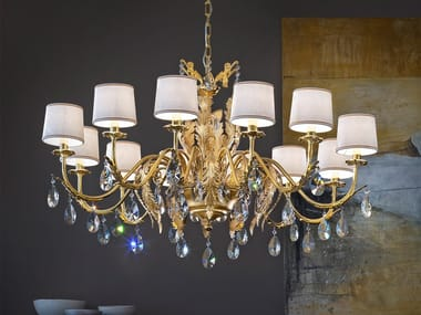 Direct light gold leaf chandelier with crystals ACANTIA 12