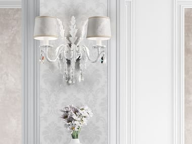 Direct light painted metal wall lamp with crystals ACANTIA A2