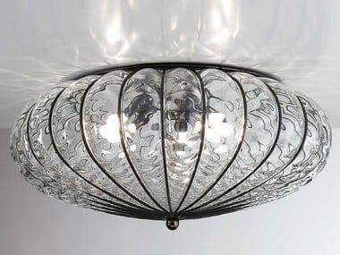 Plafoniere In Cristallo Di Murano : Plafoniera grande ferro battuto forgiato vetro cristallo di murano