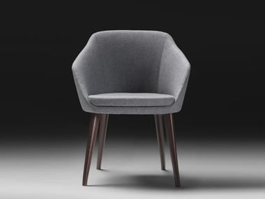 Upholstered fabric chair with armrests ACCENTO