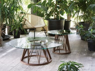 Low wood and glass coffee table ACCO | Coffee table