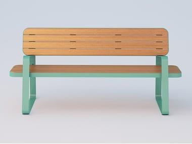 Panchina in acciaio e legno con schienale ACE | Panchina