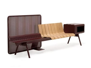 Aluminium and wood bench seating with back ACE