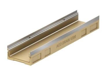 Canale di drenaggio a basso spessore in cls polimerico ACO DRAIN® Multiline V200 basso spessore