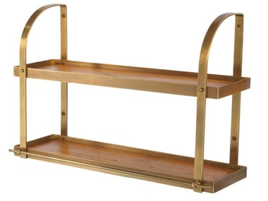 Burnished brass and solid wood double shelf ACR043 | Wall shelf