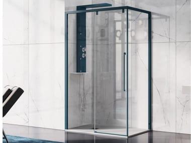 Box doccia con porta scorrevole a due ante e parete fissa ACRUX | Box doccia con porta scorrevole