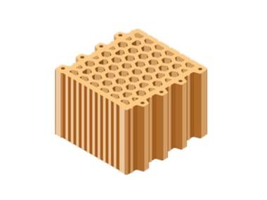 External masonry clay block ACUSTICA® 25X25X19