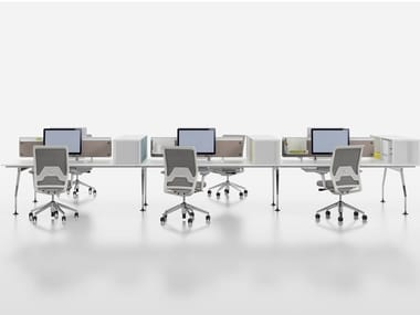 Multiple melamine office workstation with desk screens AD HOC