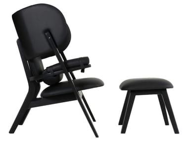 High-back leather armchair ADAMASTOR   Armchair