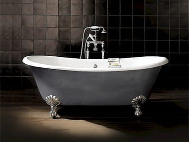 Freestanding oval cast iron bathtub on legs ADMIRAL IRON EFFECT