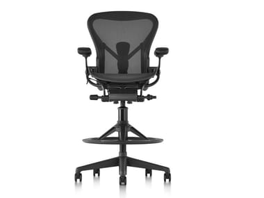 Swivel office stool with 5-Spoke base with Armrests AERON | Office stool