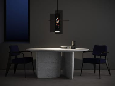 LED glass and aluminium pendant lamp AFTER DARK LARGE
