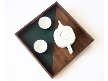 Square solid walnut and leather tray AFTER HOURS No̱ 2