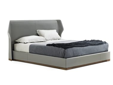 Tanned leather double bed with upholstered headboard AGIO