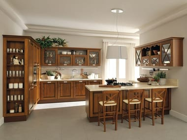 Solid wood kitchen with peninsula AGNESE | Kitchen with peninsula