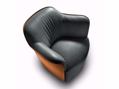 Tanned leather armchair with armrests AIDA | Tanned leather armchair