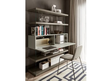 Wood and glass bookcase with secretary desk AIR | Bookcase with secretary desk