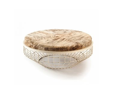 Low round upholstery center table AIR | Coffee table