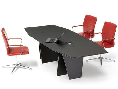 Tanned leather meeting table with cable management AIR | Meeting table