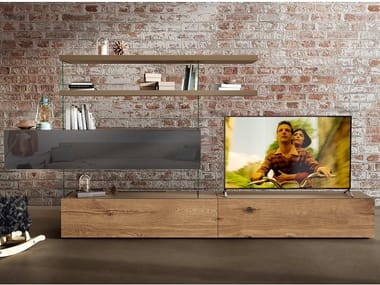 Freestanding divider wood and glass storage wall AIR WILDWOOD | Storage wall